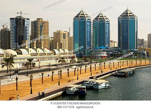 View over the Khalid Lagoon on the Crystal Plaza at the Buhairah Corniche Road in Sharjah, the Emirate of Sharjah, United Arab Emirates, Middle East