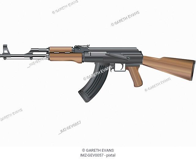 An illustration of an automatic kalishnikov ak-47