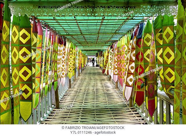 Covered bridge in Wat Chet Lin, Chiang Mai, Thailand