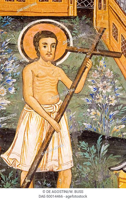Christ carrying the Cross, detail from the frescoes of Zakharii Khristovich Zograf (1840) in the narthex of the Most Holy Mother of God church (1835) in the...