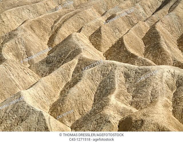 USA - View of the eroded badlands around the famous Zabriskie Point in the Death Valley  Death Valley National Park, California, USA