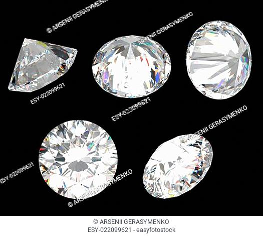 Top, bottom and different side views of diamond