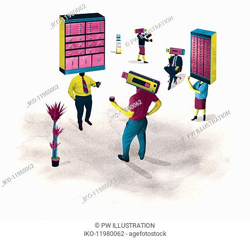 Office workers with contrasting old-fashioned filing cabinets and modern usb memory sticks as heads
