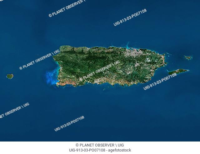 Satellite view of Puerto Rico. This image was compiled from data acquired by Landsat satellites