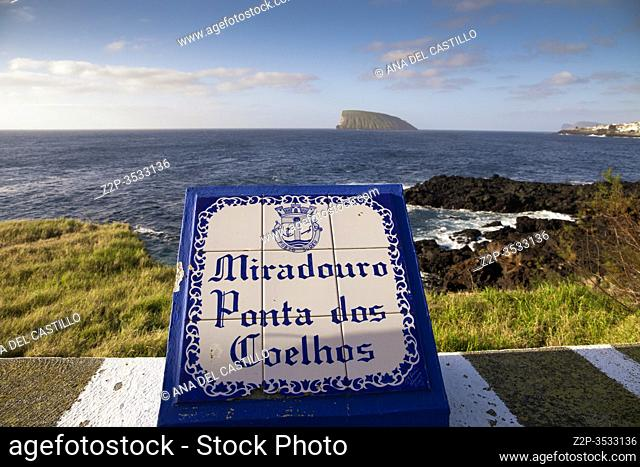 South of Terceira island with goat islands Azores Portugal. Ponta dos Coelhos lookout