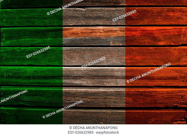 Flag of Ireland on a wood background