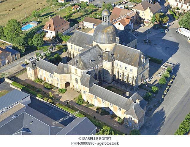France, Dordogne, Aquitaine, Hautefort, the medical history museum, aerial view