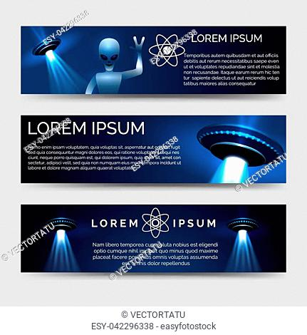 Space banners set with alien and spaceship vector iluustration