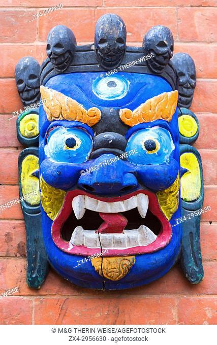 Traditional Hindu Masks on sale in tourist stall, Swayambunath or Monkey Temple, Kathmandu, Nepal, Asia