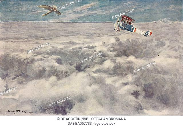 Two airplanes flying over a cloud layer, illustration from a drawing by Henri Farre (1871-1934), from the magazine L'Illustration, year 74, no 3814, April 8