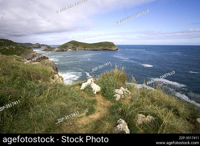 Llanes at North of Spain at Asturias region is an amazing place for enjoying the outdoors with amazing wild and green beaches like this panoramic view of Poo...