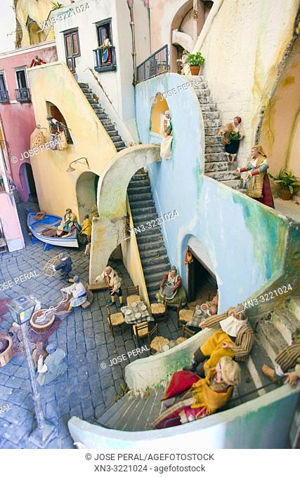 Reproduction of fishing village with figures of everyday life in Santa Margherita Nuova Church, Procida, Phlegraean Islands, Gulf of Naples, Bay of Naples