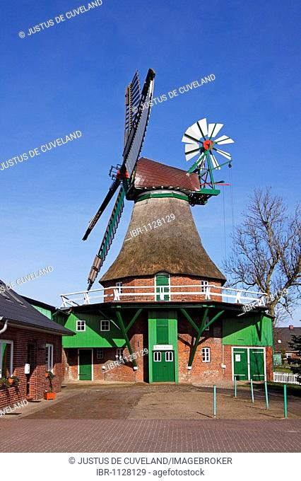 Old windmill Gott mit uns, God with us, in Eddelak built in typical dutch style, district Dithmarschen, Schleswig-Holstein, Germany