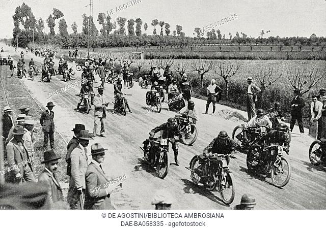 Start of a motorcycle race, Cremona track, Lombardy, Italy, June 8, 1924, from L'Illustrazione Italiana, Year LI, No 24, June 15, 1924