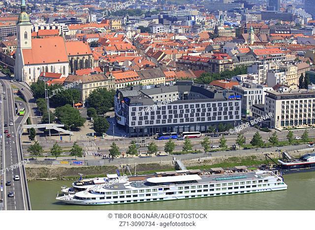 Slovakia, Bratislava, St Martin Cathedral, skyline, aerial view, Danube River, cruise ships,