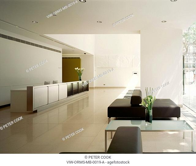 THE MET BUILDING, PERCY STREET, LONDON, WC1 BLOOMSBURY, UK, ORMS, INTERIOR, LONG VIEW OF RECEPTION