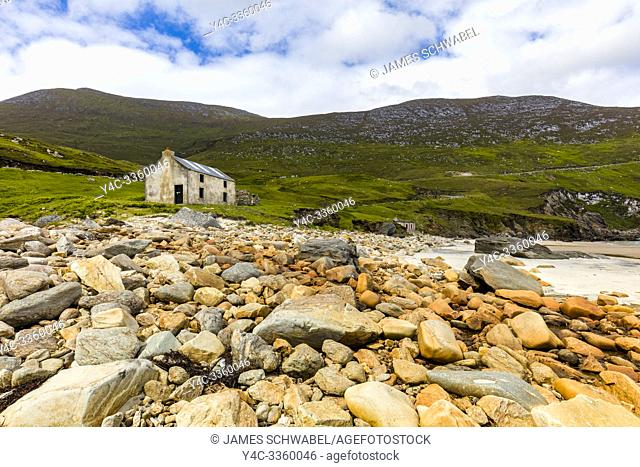 Keem Bay and beach on the Wild Atlantic Way on Achill Island in County Mayo Ireland