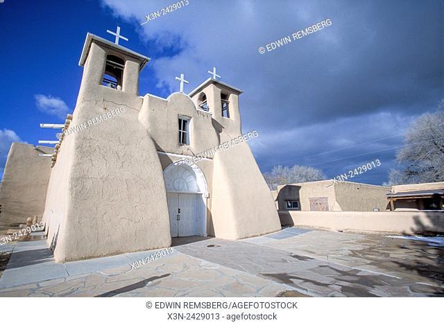 New Mexico, USA - Adobe church, Rancho de Taos NM