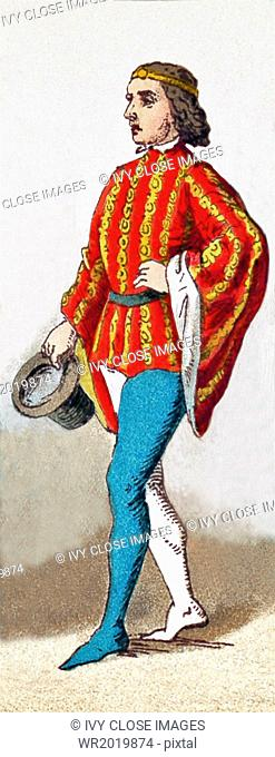 The figure represented here is an English man of rank in 1377. The illustration dates to 1882