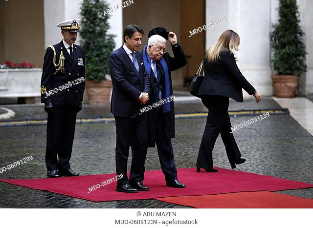 Palestinian President Abu Mazen, welcomed by the council president, Giuseppe Conte, arrives at Palazzo Chigi, on the occasion of his official visit in Italy