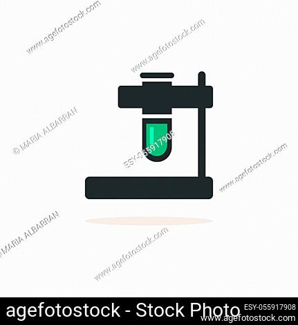 Test tube. Icon with shadow on a beige background. Pharmacy flat vector illustration
