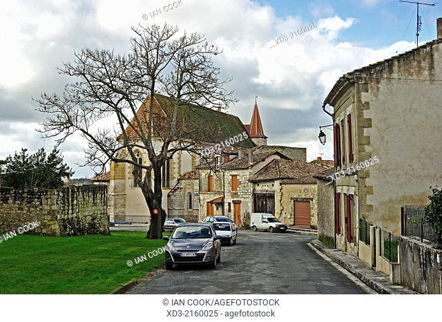 Rue du Puits with Eglise Saint Etienne, Lauzun, Lot-et-Garonne Department, Aquitaine, France