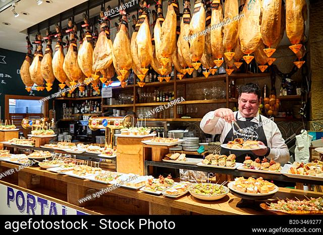 Pintxos and Hams, Portaletas Bar, Parte Vieja, Old town, Donostia, San Sebastian, Gipuzkoa, Basque Country, Spain, Europe