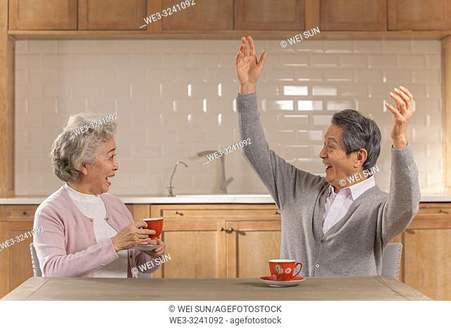 Happy old couple drinking tea and having conversation in the kitchen, Chinese ethnicity