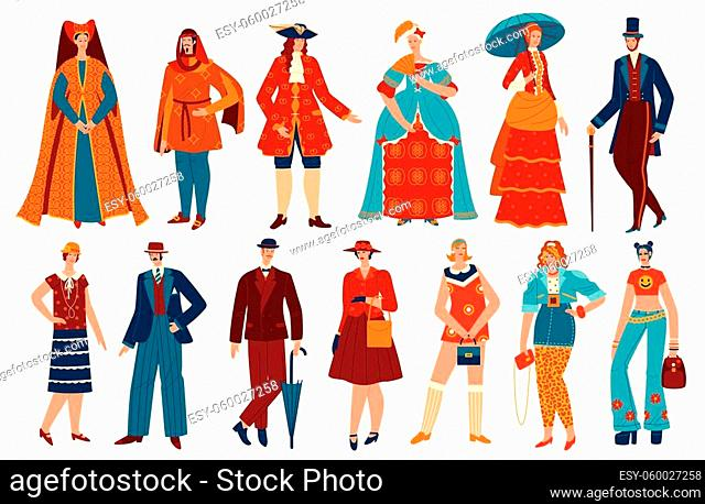 Fashion people in history vintage costume vector illustration set. Cartoon flat fashionable style evolution for man woman characters collection with historical...