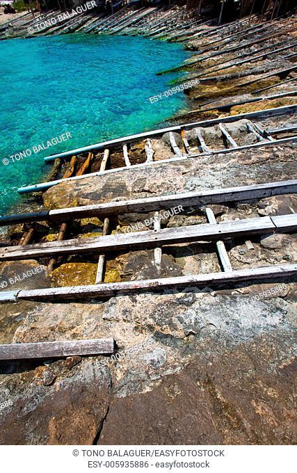 Formentera Escalo de San Agustin beach turquoise Mediterranean at Balearic Islands