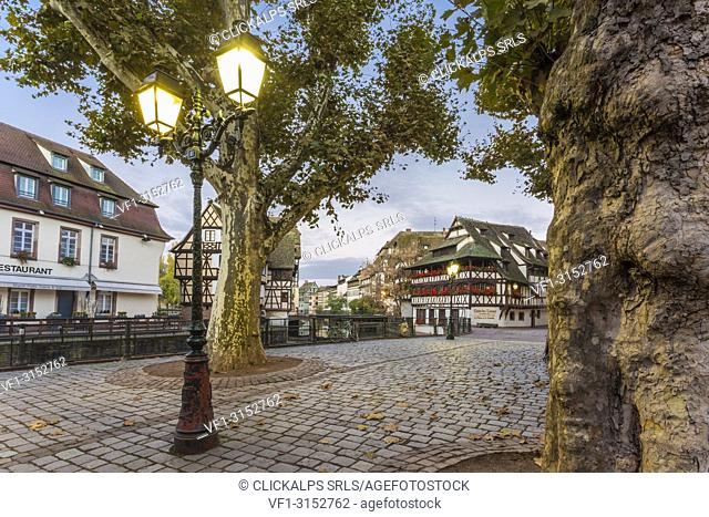 A street of Strasbourg at dawn, Alsace, Grand Est region, Bas-Rhin, France