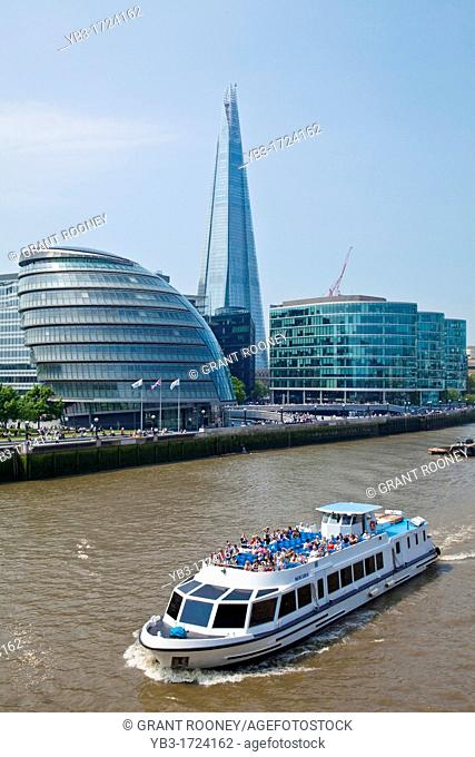 The River Thames and City Skyline, London, England