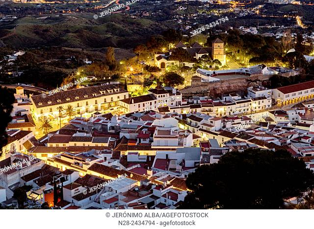 White village (Pueblo blanco) at dusk, Mijas, Malaga province, Andalusia, Spain