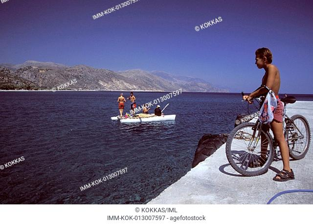 Paleohora, port, children on boat , Greece, Crete, Hania South