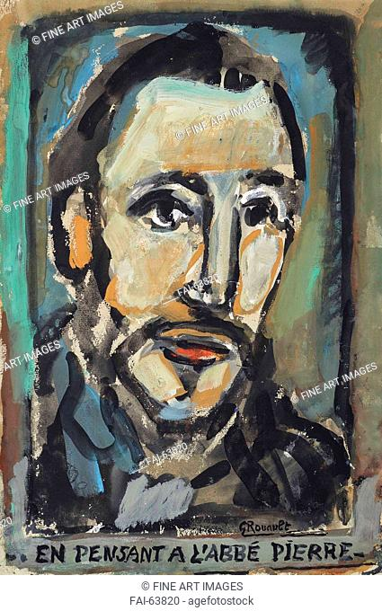 Georges Rouault, En pensant à l'Abbé Pierre, gouache, 48 x 32.5 cm. Private collection