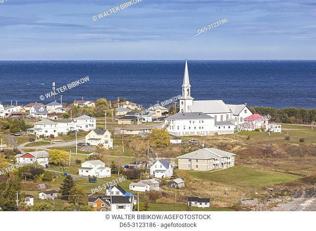 Canada, Quebec, Gaspe Peninsula, St-Maurice-de-l'Echouerie, elevated village view, autumn