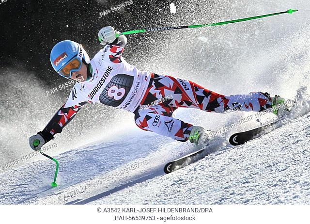 Die …sterreicherin Elisabeth Gšrgl fŠhrt beim Super-G der Damen am 08.03.2015 in Garmisch-Partenkirchen (Bayern). Foto: Karl-Josef Hildenbrand /dpa