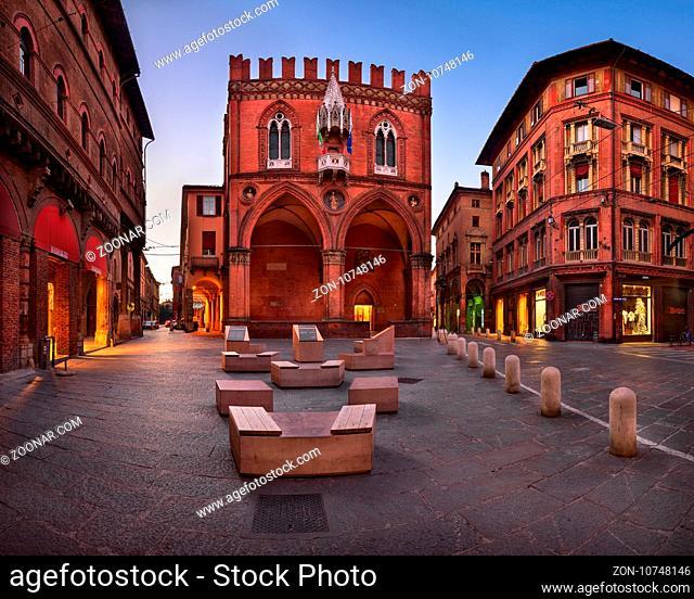 BOLOGNA, ITALY - DECEMBER 30, 2016: Palazzo della Mercanzia in Bologna, Italy. Palazzo della Mercanzia has governed trading and business activities of Bologna...