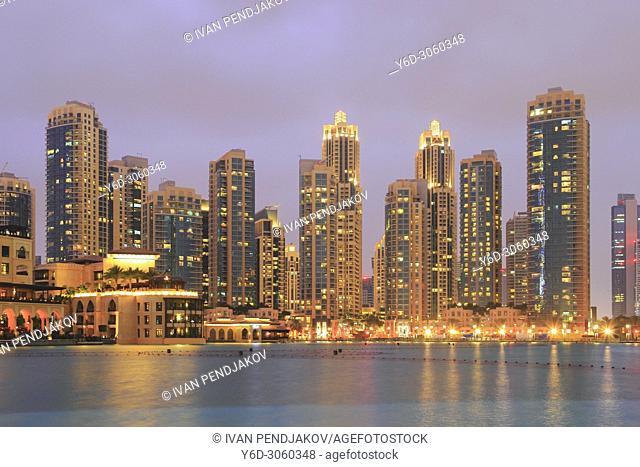 Dubai Downtown at Dusk, United Arab Emirates