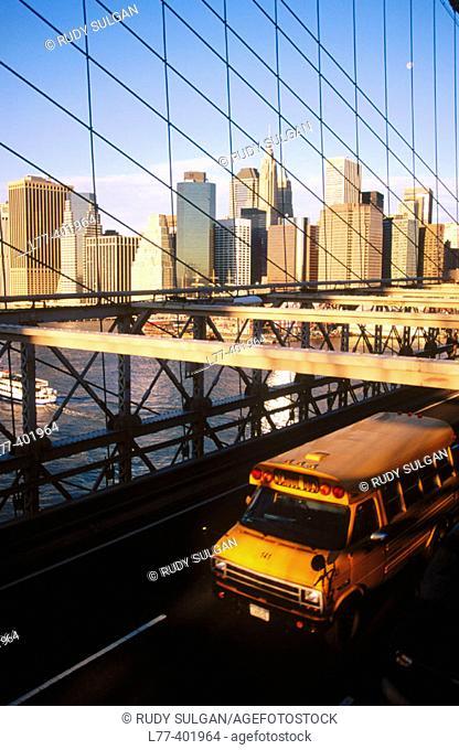 School bus on Brooklyn Bridge, New York City. USA