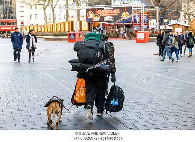 England, London, Soho, Leicester Square, Homeless Man with Dog