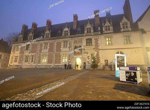 Blois France on December 30, 2019: Chateau Royal de Blois is located in the departement in the Loire Valley. The medieval french castle was built in 15-16...