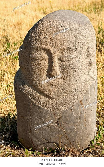 Central Asia, Kyrgyzstan, Chuy province, Burana Tower (11th), archeological site, grave marks (balbal) from the 7th and 11th century representing worthy Turkish...