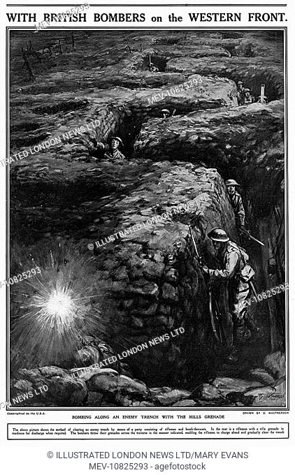 Bombing along an enemy trench with the Mills grenade. The bomb throwers throw grenades across the traverse of the trench as indicated allowing the riflemen to...