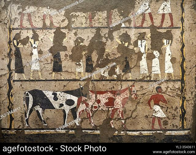 """Ancient Egyptian wall paintings of the Tomb of Iti and Neferu, Mourning Scene, Thebes, First Intermediate Period (2118 â. """" 1980BC)"""