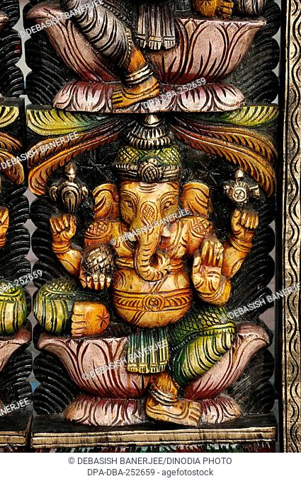Wooden carved ganesh statue, andhra pradesh, india, asia