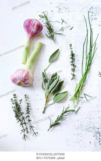 An arrangement of fresh garlic and various herbs