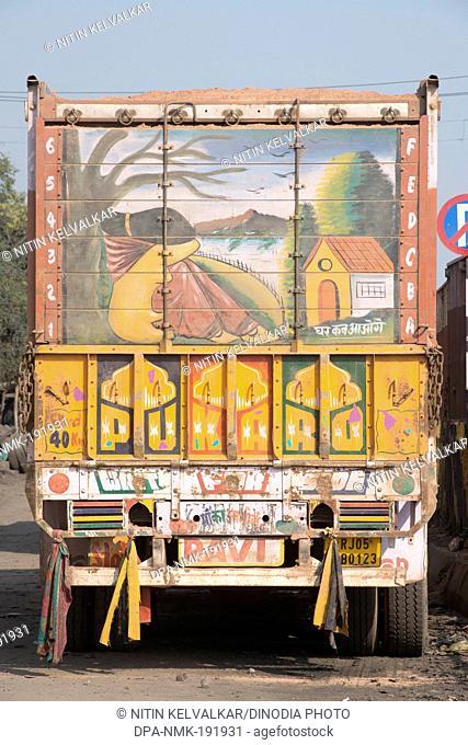 painting on truck Agra Uttar Pradesh India Asia