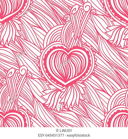 Vector seamless pattern with wavy lines and heart. Romantic hand drawn ornament