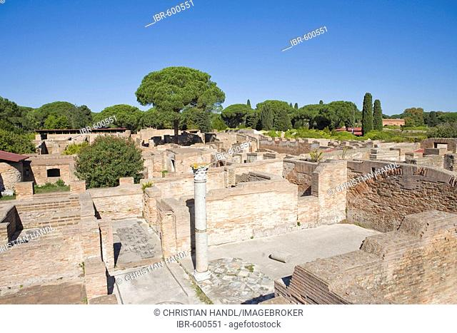 Ancient baths with mosaic floors at Ostia Antica archaeological site, Rome, Italy, Europe
